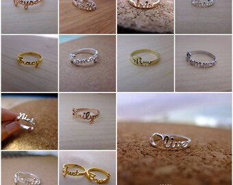 20% off // Font 17 // Personalized name ring - 18K Gold , White , Rose gold, Silver plated and Brass - Gift box included. Valentine