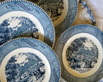 Currier and Ives Harvest  bread dessert plates Very good  Hard to Find Set of Four (two sets available)