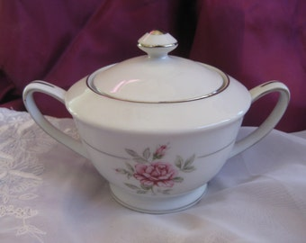 Crown Jewel Majestic  Rose Sugar bowl with platinum  accents Near MINT
