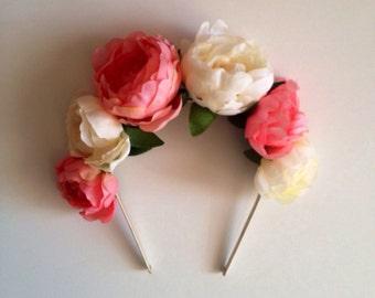 Peach coral and cream ranunculus flower crown headband, floral crown, flower crown, flower headband, crown, weddings, flower girl, summer