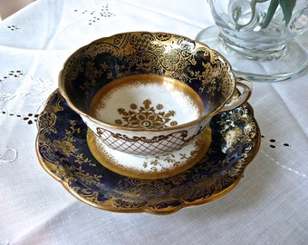 Aynsley Cup and Saucer - Antique Cabinet Teacup Set - Navy Blue & Gold - Intricate Pattern - English Porcelain - Wedding Entertaining