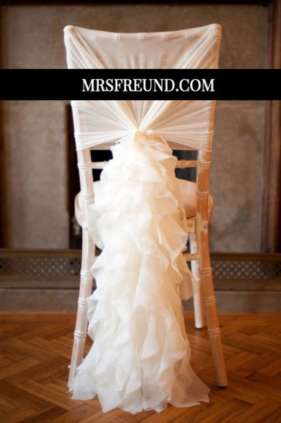 wholesale ruffles chiffon chair sash cap by