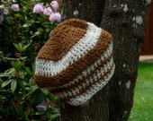 Brown Chenille feel and white glitter striped crocheted beanie hat Loose fit