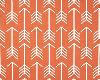 2 yards Apache Orange Macon Arrow Premier Prints,  Orange white , Aztec, Tribal, Feathers -  Home Decor