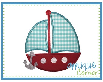 INSTANT DOWNLOAD 2295 Sailboat Anchor applique design in digital format for embroidery machine by Applique Corner