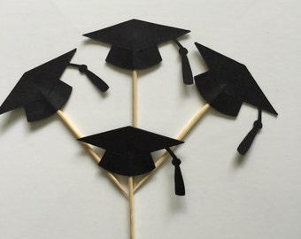 24 Pieces Black Graduation Cap Cupcake Toppers, Toothpicks, Graduation Party Decor