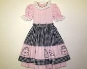 vintage girls pink ruffle dress // girls pinifore dress // vintage childs summer dress