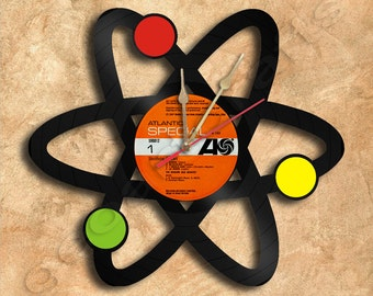 Wall Clock Atom Vinyl Record Clock Upcycled Gift Idea