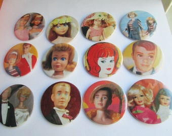 Barbie Buttons / Friend and Family  / 1 dozen recycled magazine images / as pictured/ Item 10-132