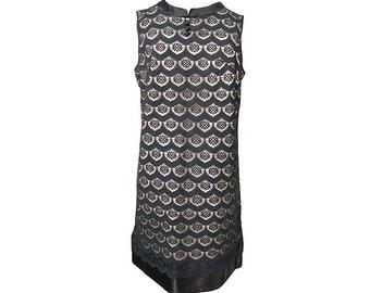 Vintage 1960s Dress Black Lace & Satin Mod Sleeveless Shift