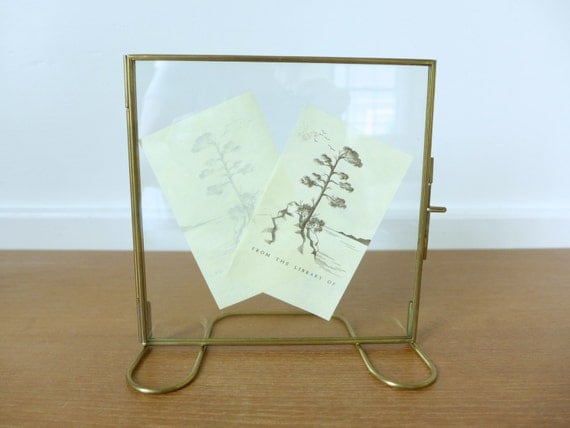 glass and brass floating picture frame double glass frame