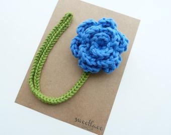 Cornflower Blue Pacifier Clip--Crochet Flower pacifier clip--Baby Girl accessories--MAM adapter--Sweetlace Shop