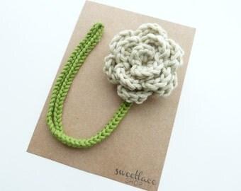 Oatmeal Pacifier Clip--Crochet Flower pacifier clip--Baby Girl accessories--MAM adapter--Sweetlace Shop