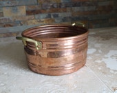 Antique Turkish copper pot - hand worked copper pot - heavy gauge copper pot with dovetail joint