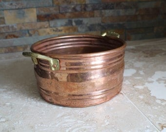 Antique copper pot - antique Turkish copper pot - hand worked copper pot - heavy gauge copper pot with dovetail joint