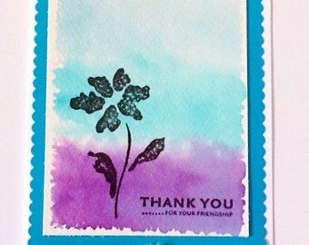 Hand made cards: Thank you card - watercolor - flower card - flower thank  you - turquoise - purple - handmade - Wcards