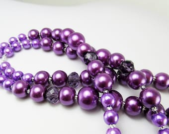 Purple Beaded Lanyard Czech Glass Pearls LQexpressions