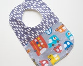 On Sale, Save 25% - Designer Boy Baby to Toddler Bib - Cars & Vans - OOAK - Ready to Ship - Cute Baby Gear - Reversible Bib - Modern Baby