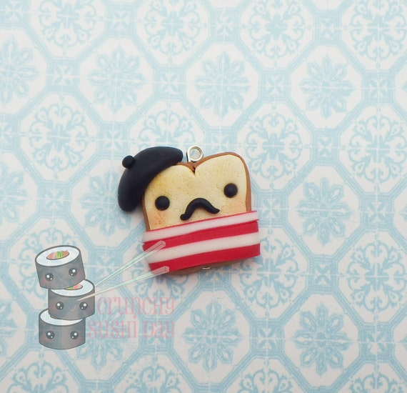 Kawaii French Toast, French Toast Polymer Clay Charm, Miniature, Polymer Clay Pendant, Food, clay pendant, Kawaii, Chibi, Clay Charm