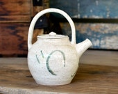 Petite Earthenware Pottery Teapot - Natural Beige, Green Stripe Accents - Solid Handle, Interior Strainer - Vintage Kitchen Serving