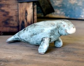 Walrus Figurine by POD Pottery - Adorable Collectible Sea Lion Animal Figure, Ceramic with Marbled Pastel Blue & Black Glaze - Vintage Decor