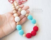 Nursing necklace/ Teething necklace/ Red turquoise Nursing necklace/Babywearing necklace/ Baby Nursing necklace/ Chew necklace