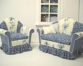 Shabby Chic  Sofa Set for the 1:12 scale dolhouse OOAK