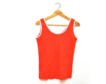 70s Red and White Tank Top Shirt Women's Medium