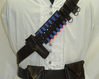 Bandolier / Utility Belt System for Steampunk Adventurers Faux Distressed Leather