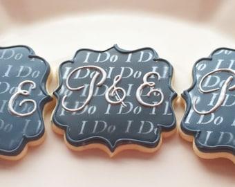 "Large wedding monogram cookies ""i do"""