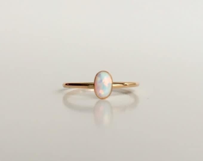 Fire & Ice Opal Gold Filled Ring - Oval