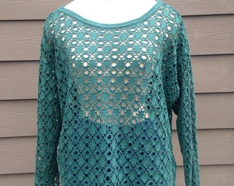 Emerald Green Poly Knit Mesh Top/ One Size Fits All Knit Mesh Top
