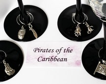 WINE CHARMS Pirates of the Caribbean themed set of 6 with their own message card and organza bag