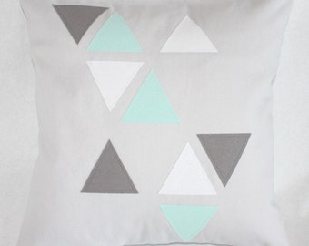 Triangles Pillow Cover - Gray, White, and Mint Cotton Canvas Geometric Throw Pillow - 16x16 Pillow Cover - Original Design - READY TO SHIP!