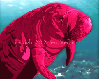 Manatee, art print, pink red and teal