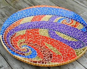 Escher spirals on glass mosaic dish