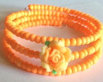 "Colorful ""Birthday Cake Rose"" Beaded Memory Wire Bracelet"