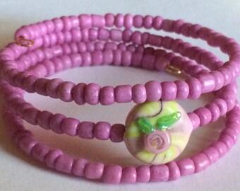"Colorful ""My Wild Irish Rose"" Beaded Memory Wire Bracelet"