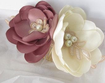 Floral Bridal Hair Comb / Hair Flower / Bridal Hair Flower