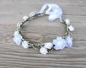 ON SALE! Flower Girl Crown, White Flower Crown, Woodland Headdress-Boho Wedding Crown, Floral Hairpiece, Bridal Head Wreath, Hair Wreath