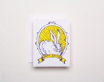 Bunny Portrait Happy Easter Card - Letterpress Easter Card