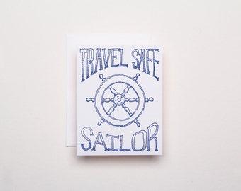 Travel Safe Sailor Card - Letterpress Everyday Card