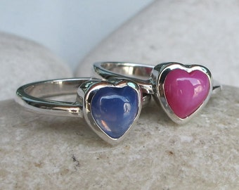 Pink Heart Ring- Stack Ring- Tiny Ring- Pink Ring- Star Sapphire Ring- Jewelry Gifts- Promise Ring- Gift Ideas- Heart