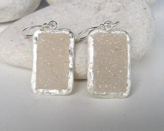 Unique Bridal Earring- White Druzy Earring- Rectangular Druzy Earring- Beige Gemstone Earring- Artisan OOAK Earring- Evening Dangle Earring