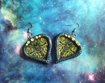 Colourful cosmic alien tribal earrings