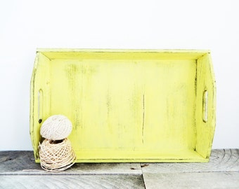 Large Serving Tray - Sunny Yellow Distressed - Simple and Shabby