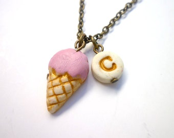 Ice cream Cone Charm Necklace, Scoop, Girl Necklace, sweet lollipop, candy store, girl birthday party gift, strawberry cone, stamped letter