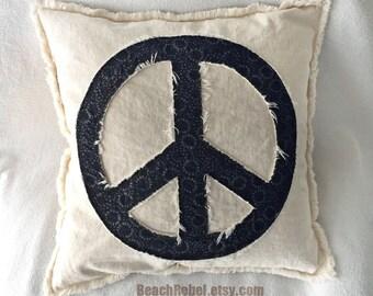 "Peace sign pillow cover in black batik and natural distressed denim 16"" boho pillow cover"