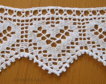 "Handmade lace crochet trim ""lovely hearts"", crochet edging, filet lace,crochet home decor ,white lace,vintage style"