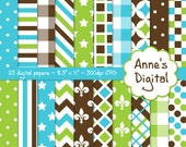 "Lime Green, Brown, and Aqua Digital Papers - Matching Solids Included - 25 Papers - 8.5"" x 11"" - Instant Download - Commercial Use (030)"